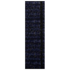 Rug & Kilim's Scandinavian-Inspired Geometric Black and Blue Wool Pile Runner