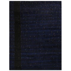 Rug & Kilim's Scandinavian-Inspired Geometric Black and Blue Wool Rug