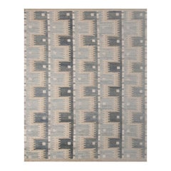Rug & Kilim's Scandinavian-Inspired Geometric Blue and Beige Wool Pile Rug