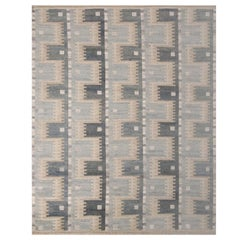 Rug & Kilim's Scandinavian Inspired Geometric Blue and Beige Wool Pile Rug