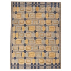 Rug & Kilim's Scandinavian-Inspired Geometric Gold Beige and Blue Wool Pile Rug
