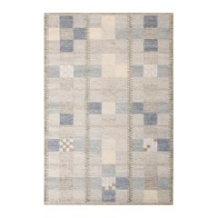 Rug & Kilim's Scandinavian-Inspired Geometric Gray and Blue Natural Wool Rug