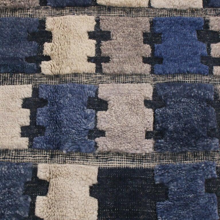 Scandinavian Modern Rug & Kilim's Scandinavian Inspired Geometric Gray and Blue Wool Pile Rug For Sale