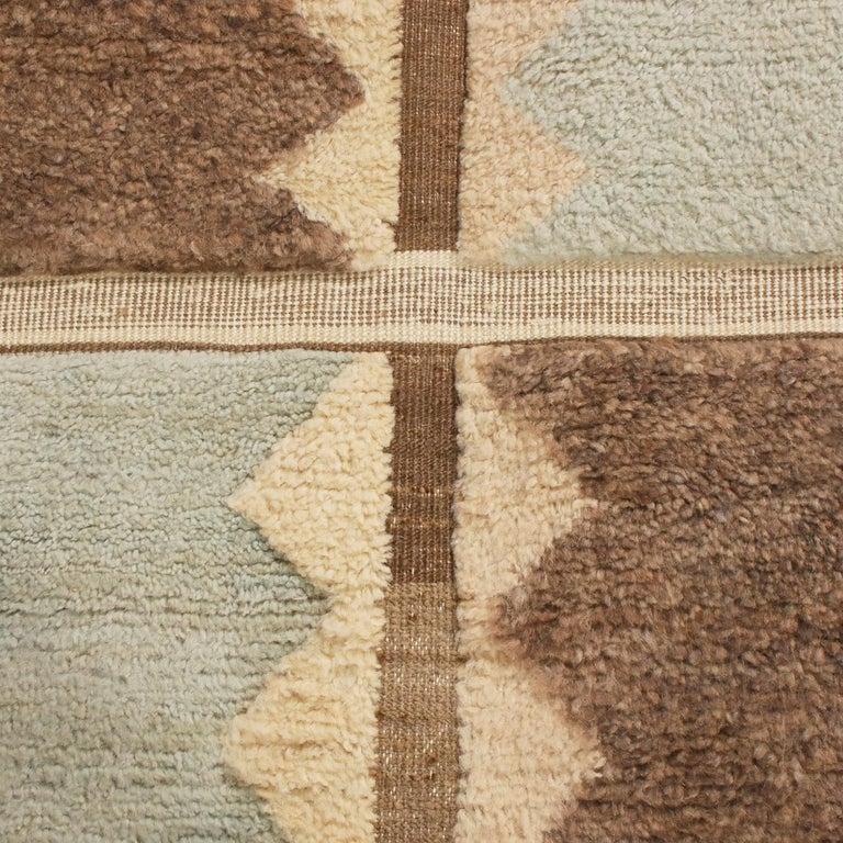Scandinavian Modern Rug & Kilim's Scandinavian-Inspired Geometric Gray and Blue Wool Pile Rug For Sale