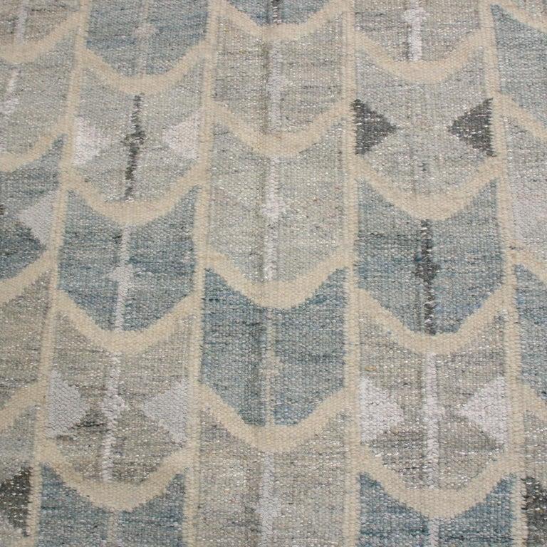 Indian Rug & Kilim's Scandinavian-Inspired Geometric Gray and Blue Wool Kilim Rug For Sale