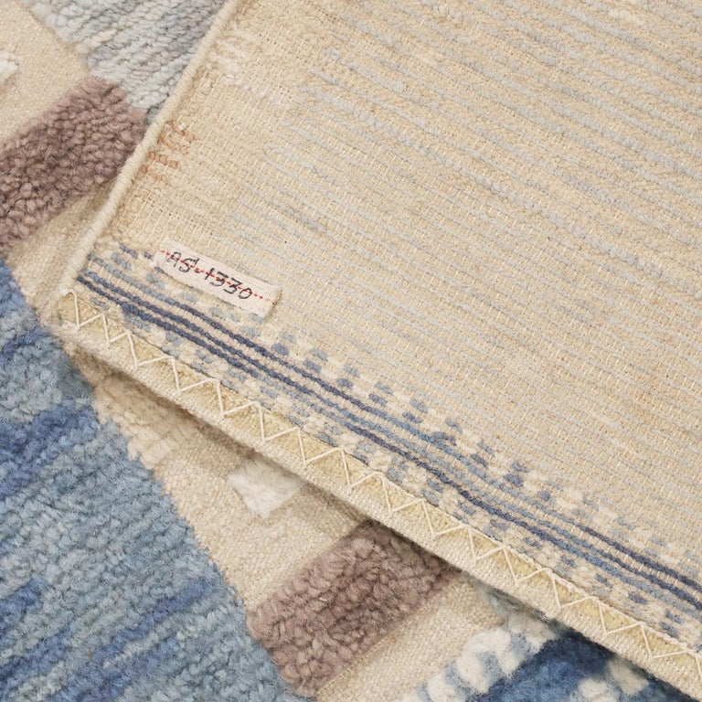 Indian Rug & Kilim's Scandinavian Inspired Geometric Gray and Blue Wool Pile Rug For Sale