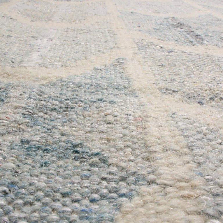 Hand-Woven Rug & Kilim's Scandinavian-Inspired Geometric Gray and Blue Wool Kilim Rug For Sale