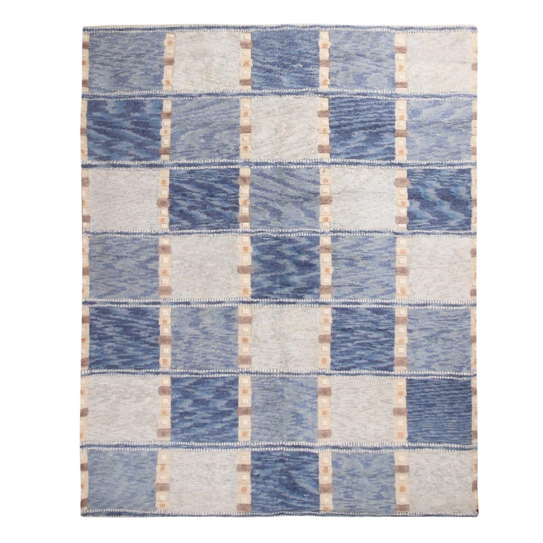Hand-Knotted Rug & Kilim's Scandinavian Inspired Geometric Gray and Blue Wool Pile Rug For Sale