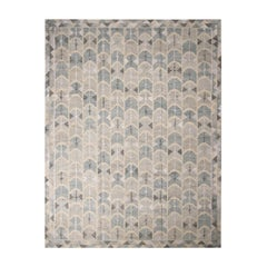 Rug & Kilim's Scandinavian-Inspired Geometric Gray and Blue Wool Kilim Rug