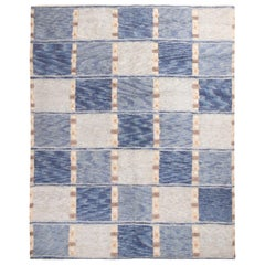 Rug & Kilim's Scandinavian Inspired Geometric Gray and Blue Wool Pile Rug