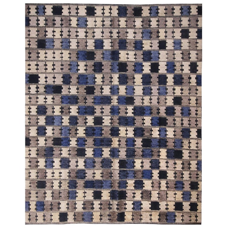 Rug & Kilim's Scandinavian Inspired Geometric Gray and Blue Wool Pile Rug For Sale