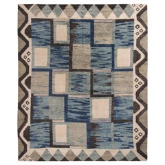 Rug & Kilim's Scandinavian-Inspired Geometric Gray and Blue Wool Pile Rug