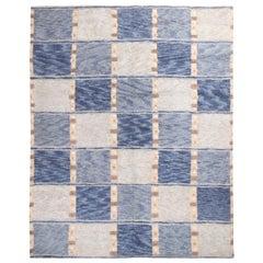 Rug & Kilim's Scandinavian Inspired Geometric Gray and Blue Wool Pile Rug