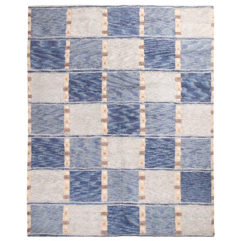 Rug & Kilim's Scandinavian Inspired Geometric Gray and Blue Wool Pile Rug For Sale