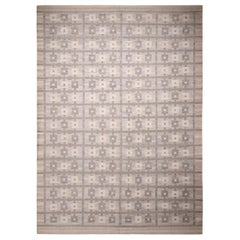 Rug & Kilim's Scandinavian Inspired Geometric Gray and Blue Wool Rug