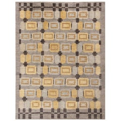 Rug & Kilim's Scandinavian-Inspired Geometric Gray and Gold Wool Pile Rug