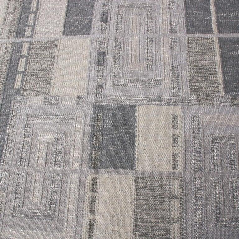 Scandinavian Modern Rug & Kilim's Scandinavian Inspired Geometric Gray and White Wool Pile Rug For Sale