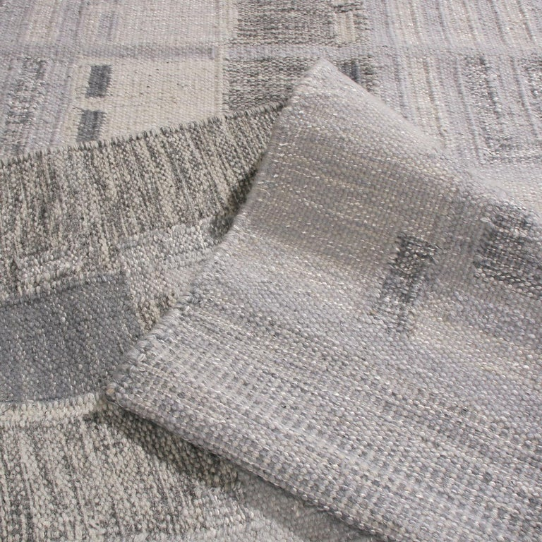 Hand-Knotted Rug & Kilim's Scandinavian Inspired Geometric Gray and White Wool Pile Rug For Sale