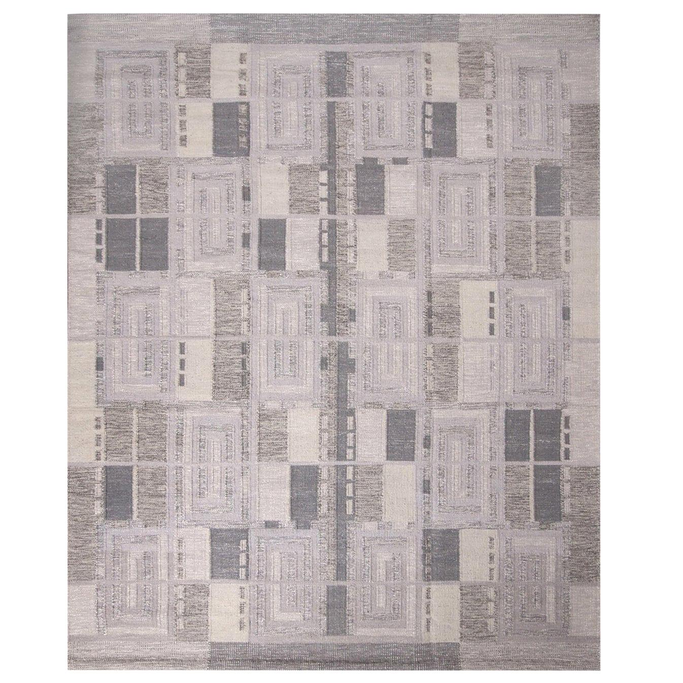 Rug & Kilim's Scandinavian Inspired Geometric Gray and White Wool Pile Rug