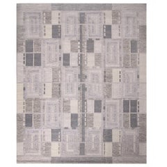 Rug & Kilim's Scandinavian Inspired Geometric Gray and White Wool Pile Rug
