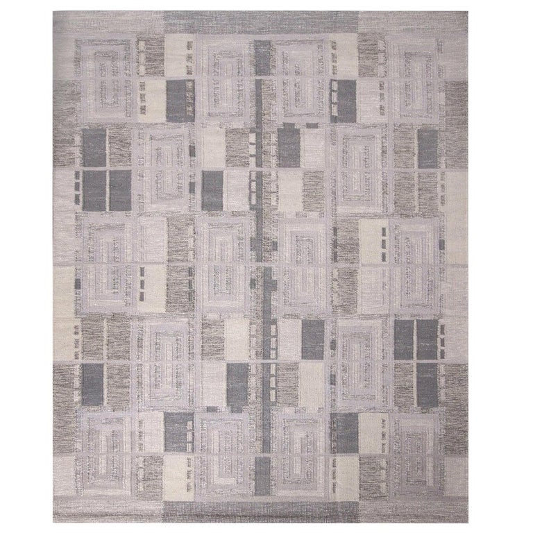 Rug & Kilim's Scandinavian Inspired Geometric Gray and White Wool Pile Rug For Sale