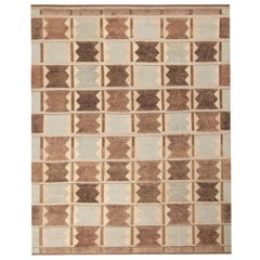 Rug & Kilim's Scandinavian-Inspired Geometric Gray Brown and Blue Wool Pile Rug