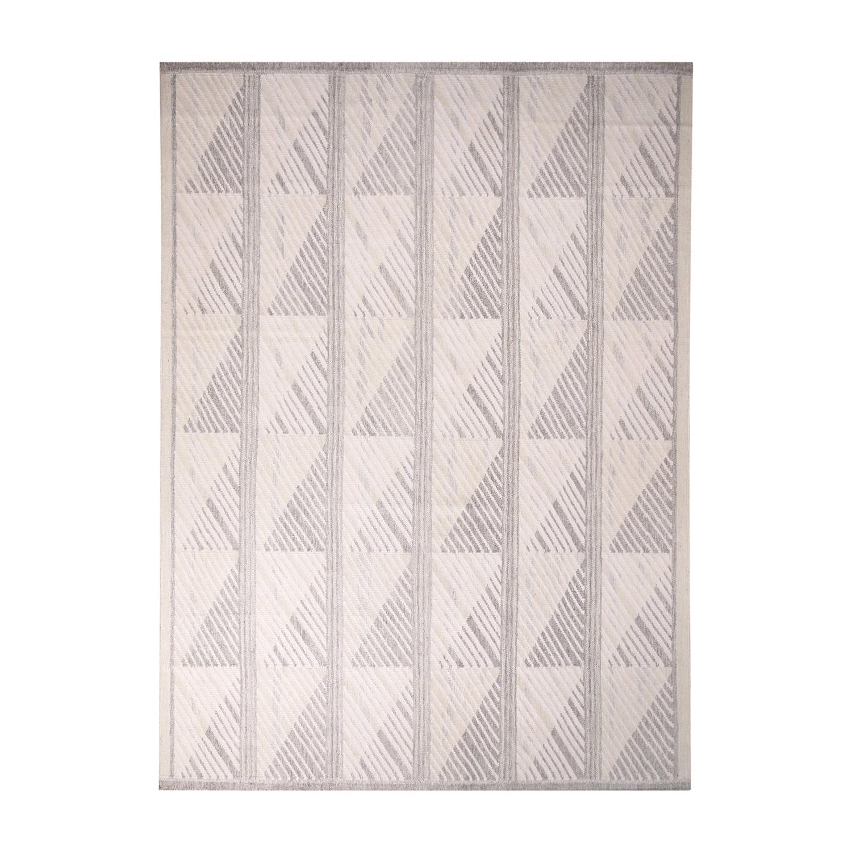 Rug & Kilim's Scandinavian-Inspired Geometric Gray-White Natural Wool Kilim Rug