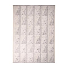 Rug & Kilim's Scandinavian-Inspired Geometric Gray-White Natural Wool Kilim Rug