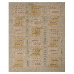 Rug & Kilim's Scandinavian-Inspired Geometric Green and Gold Wool Pile Rug