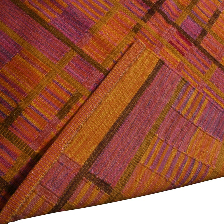 Hand-Woven Rug & Kilim's Scandinavian-Inspired Gold and Pink Chenille Wool Kilim Rug For Sale