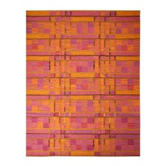 Rug & Kilim's Scandinavian-Inspired Gold and Pink Chenille Wool Kilim Rug
