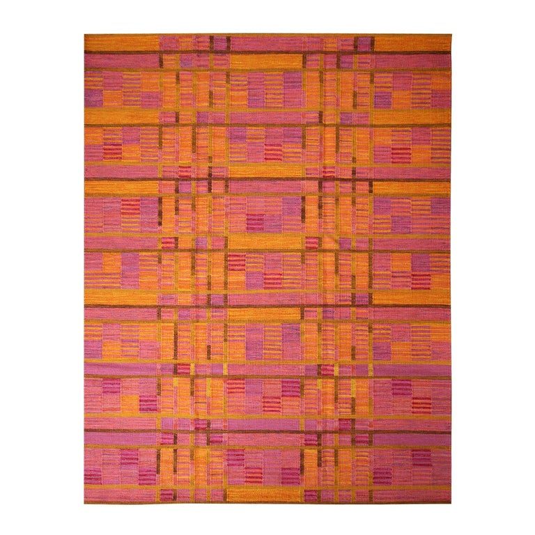Rug & Kilim's Scandinavian-Inspired Gold and Pink Chenille Wool Kilim Rug For Sale