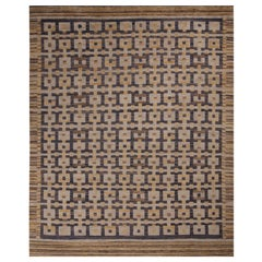 Rug & Kilim's Scandinavian Inspired Gold Gray and Blue Wool Rug