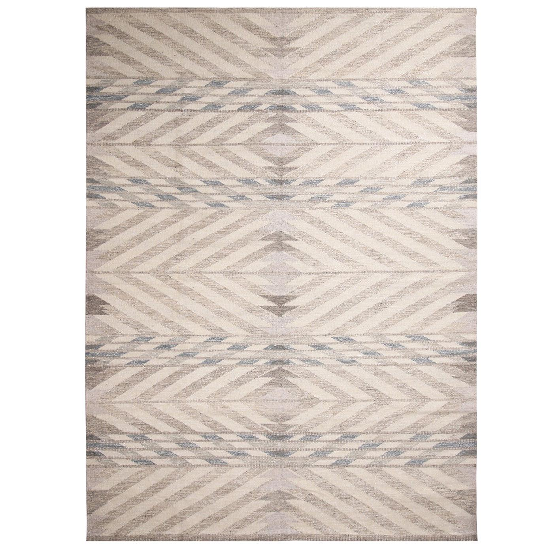 Rug & Kilim's Scandinavian Inspired Gray and Beige Wool Kilim Rug