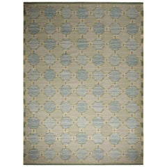Rug & Kilim's Scandinavian Inspired Green and Blue Geometric Wool Rug