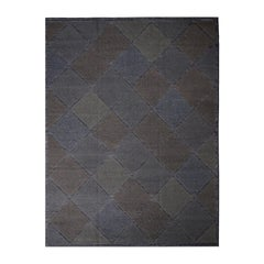 Rug & Kilim's Scandinavian-Inspired Moroccan Diamond Brown & Blue Wool Pile Rug