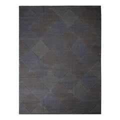 Rug & Kilim's Scandinavian Inspired Moroccan Diamond Brown & Blue Wool Pile Rug