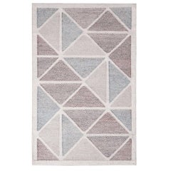 Rug & Kilim's Scandinavian Inspired Moroccan-Style Beige & Blue Polyester Rug