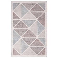 Rug & Kilim's Scandinavian Inspired Moroccan-Style Beige and Blue Polyester Rug