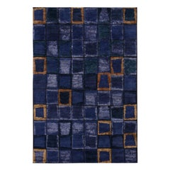 Rug & Kilim's Scandinavian Inspired Multi-Tonal Blue and Purple Wool Pile Rug