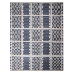 Rug & Kilim's Scandinavian-Inspired Navy Blue and Gray Viscose Rug
