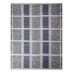 Rug & Kilim's Scandinavian-Inspired Navy Blue and Gray Wool Rug