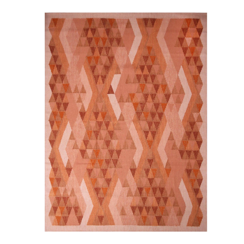 Rug & Kilim's Scandinavian Inspired Orange and Brown Wool Rug