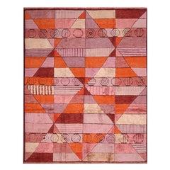 Rug & Kilim's Scandinavian-Inspired Orange and Purple Pink Wool Pile Custom Rug