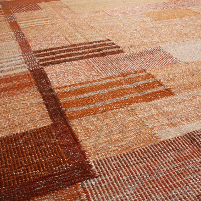 Scandinavian Modern Rug & Kilim's Scandinavian Inspired Peach and Brown Wool Kilim Rug For Sale