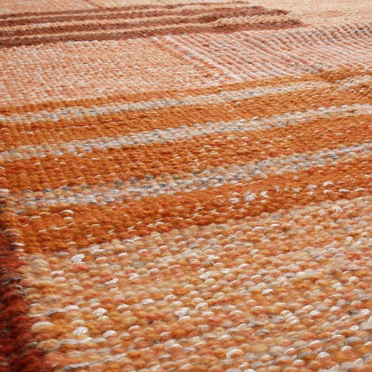 Indian Rug & Kilim's Scandinavian Inspired Peach and Brown Wool Kilim Rug For Sale