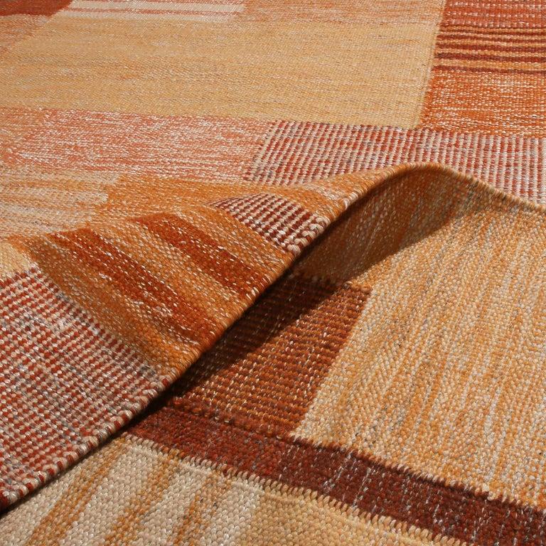 Hand-Woven Rug & Kilim's Scandinavian Inspired Peach and Brown Wool Kilim Rug For Sale