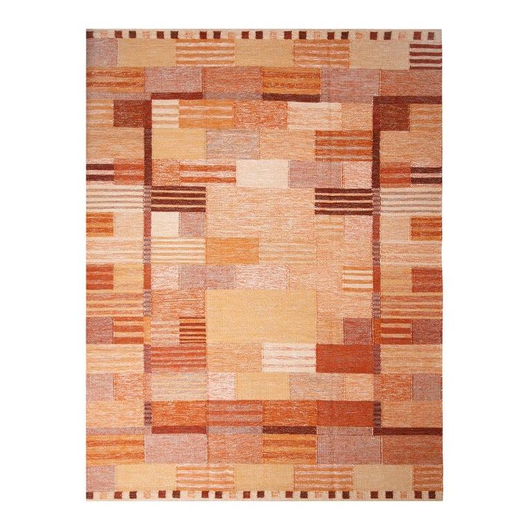 Rug & Kilim's Scandinavian Inspired Peach and Brown Wool Kilim Rug For Sale
