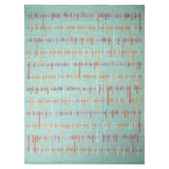 Rug & Kilim's Scandinavian-Inspired Seafoam Blue and Red Wool Pile Rug