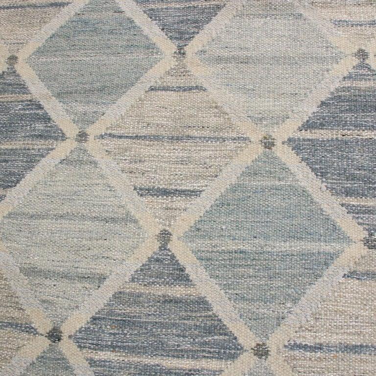 Scandinavian Modern Rug & Kilim's Scandinavian-Inspired Silver-Gray and Blue Wool Kilim Rug For Sale